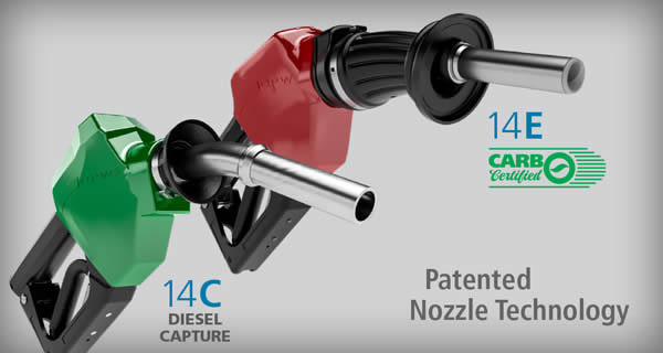 OPW 14 Series Nozzles: 14C Diesel Capture & 14E Dripless Gasoline