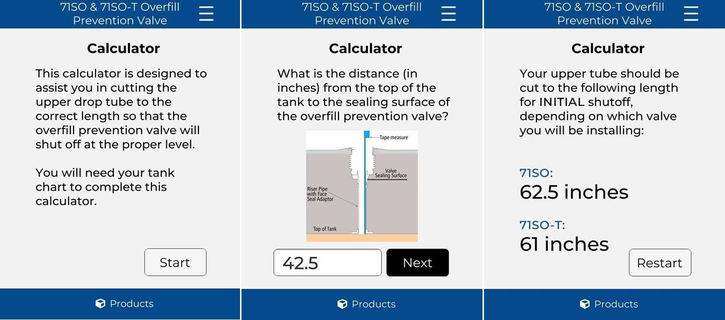 OPW 71SO/71SO-T OPV Upper Drop Tube Calculator
