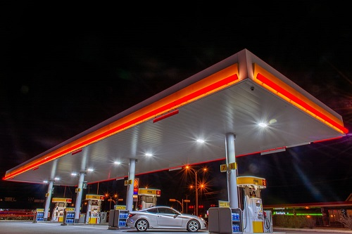 A bright and well-illuminated gas station with LED lights