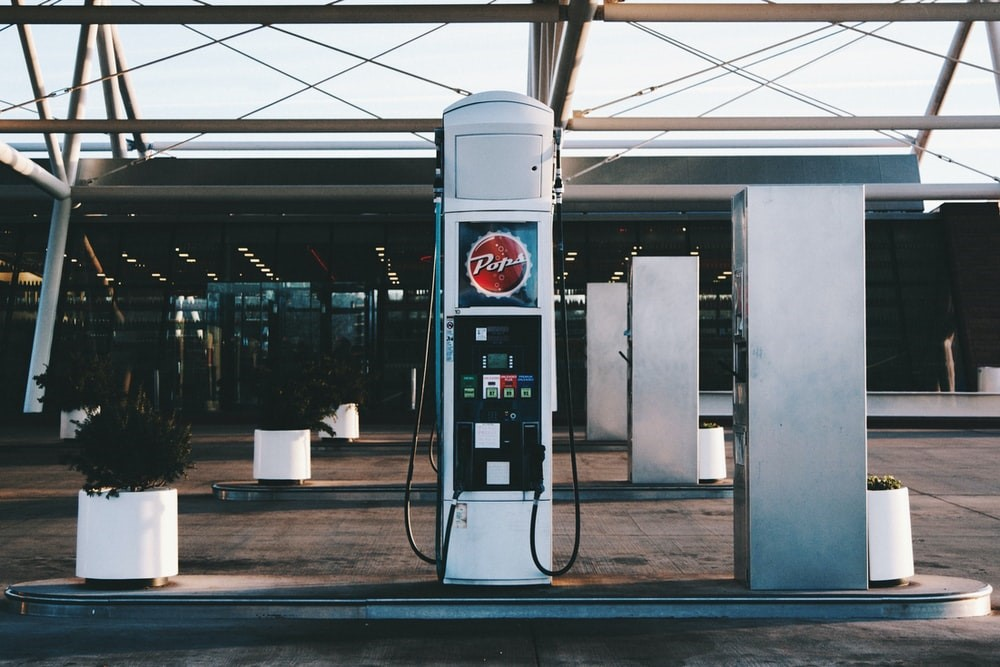 A modern gas station.