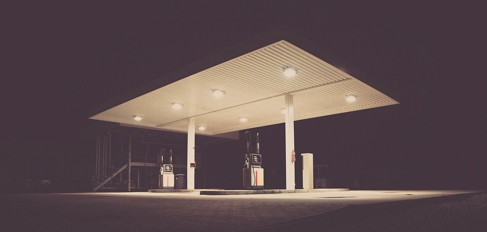An empty, poorly managed fuel station