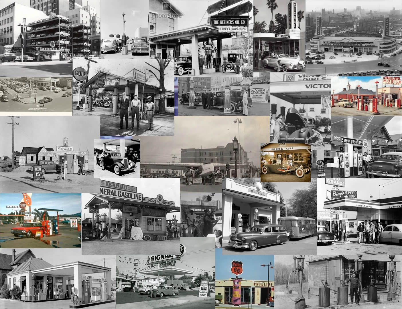 Old Gas Station Collage